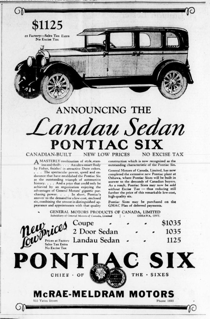 1926 advertisement for Pontiac Six automobiles, placed by McRae-Meldrum Motors, 933 Yates Street. (Victoria Online Sightseeing Tours collection)