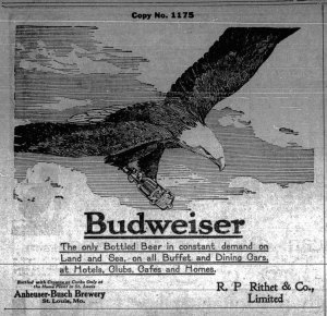 1913 advertisement Budweiser beer, distributed in Victoria by R.P. Rithet & Co., Wharf Street (Victoria Online Sightseeing Tours collection)