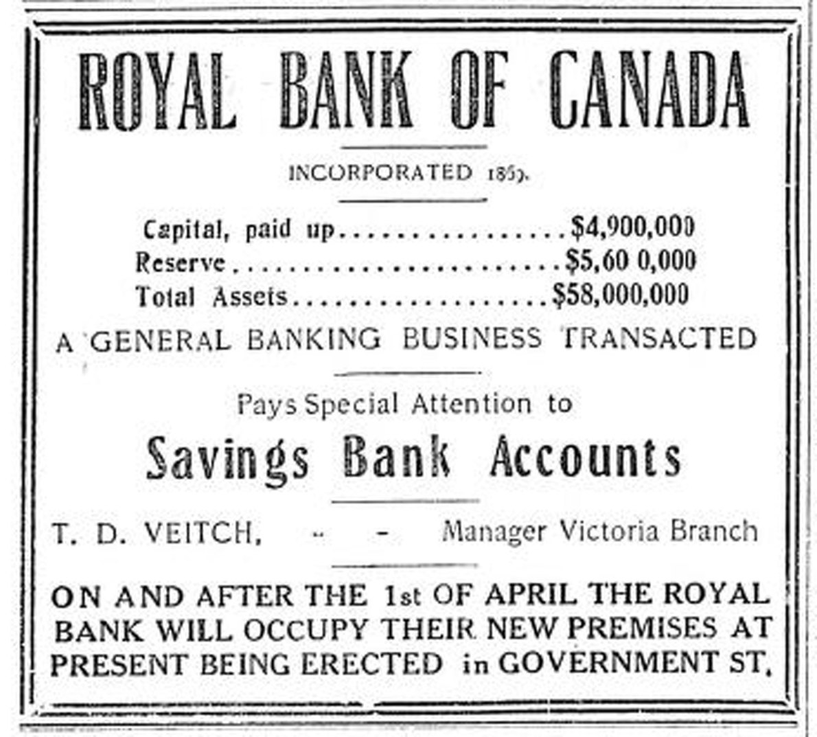 1909 advertisement for Royal Bank of Canada, Victoria Branch. The