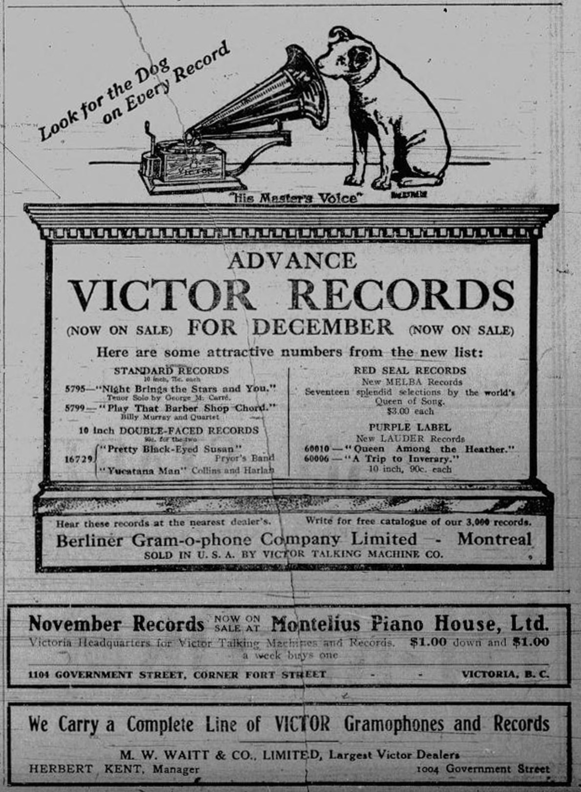 1910 advertisement for Victor Records, sold at 1004 Government Street and 1102 Government Street (Victoria Online Sightseeing Tours collection)