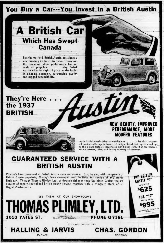 1937 advertisement for Austin cars, by Thomas Plimley Ltd., 1010 Yates Street (Victoria Online Sightseeing Tours collection)