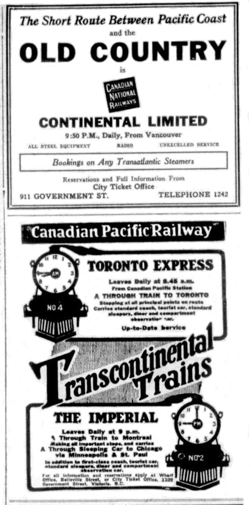 1925 advertisements for the Canadian National Railway (top), ticket office 911 Government Street, and the Canadian Pacific Railway (bottom) and its Victoria ticket office at 1102 Government Street (Victoria Online Sightseeing Tours collection)