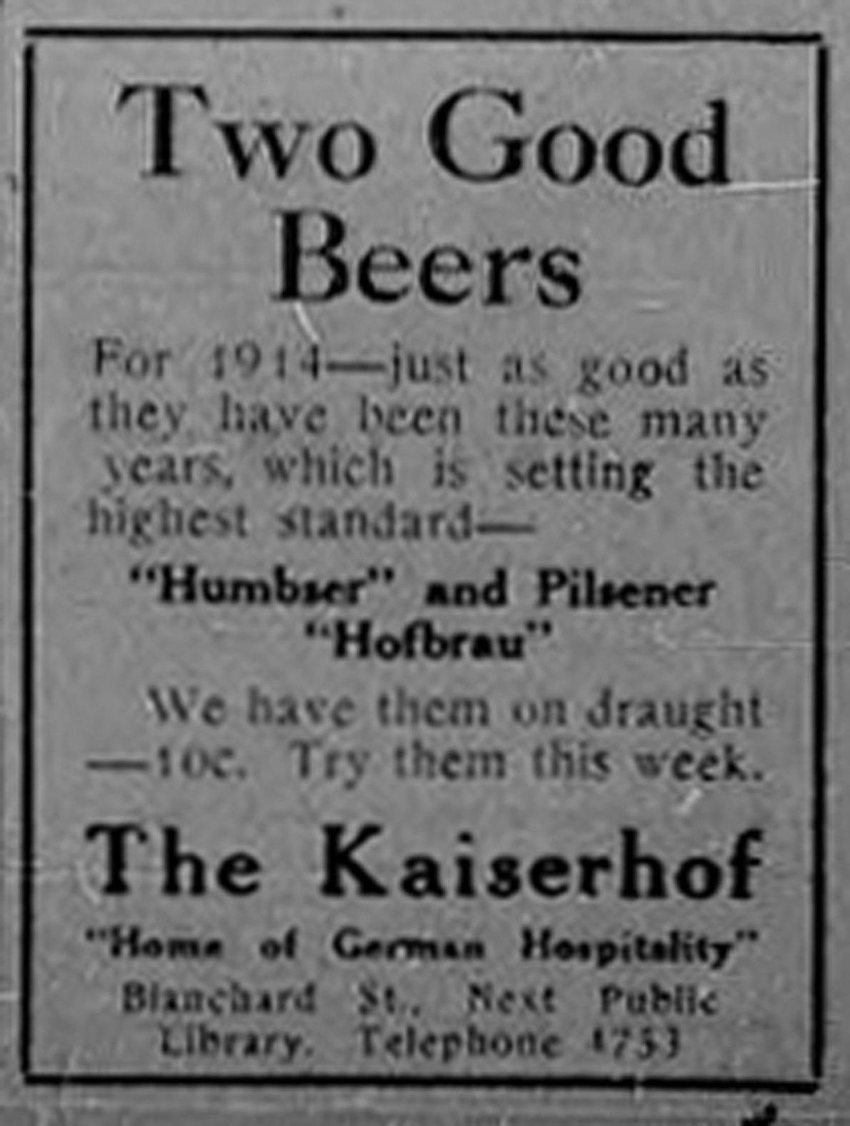 "1913 advertisement for The Kaiserhof ""Home of German Hospitality"", 1320-1322 Blanshard Street. (Victoria Online Sightseeing Tours collection)"