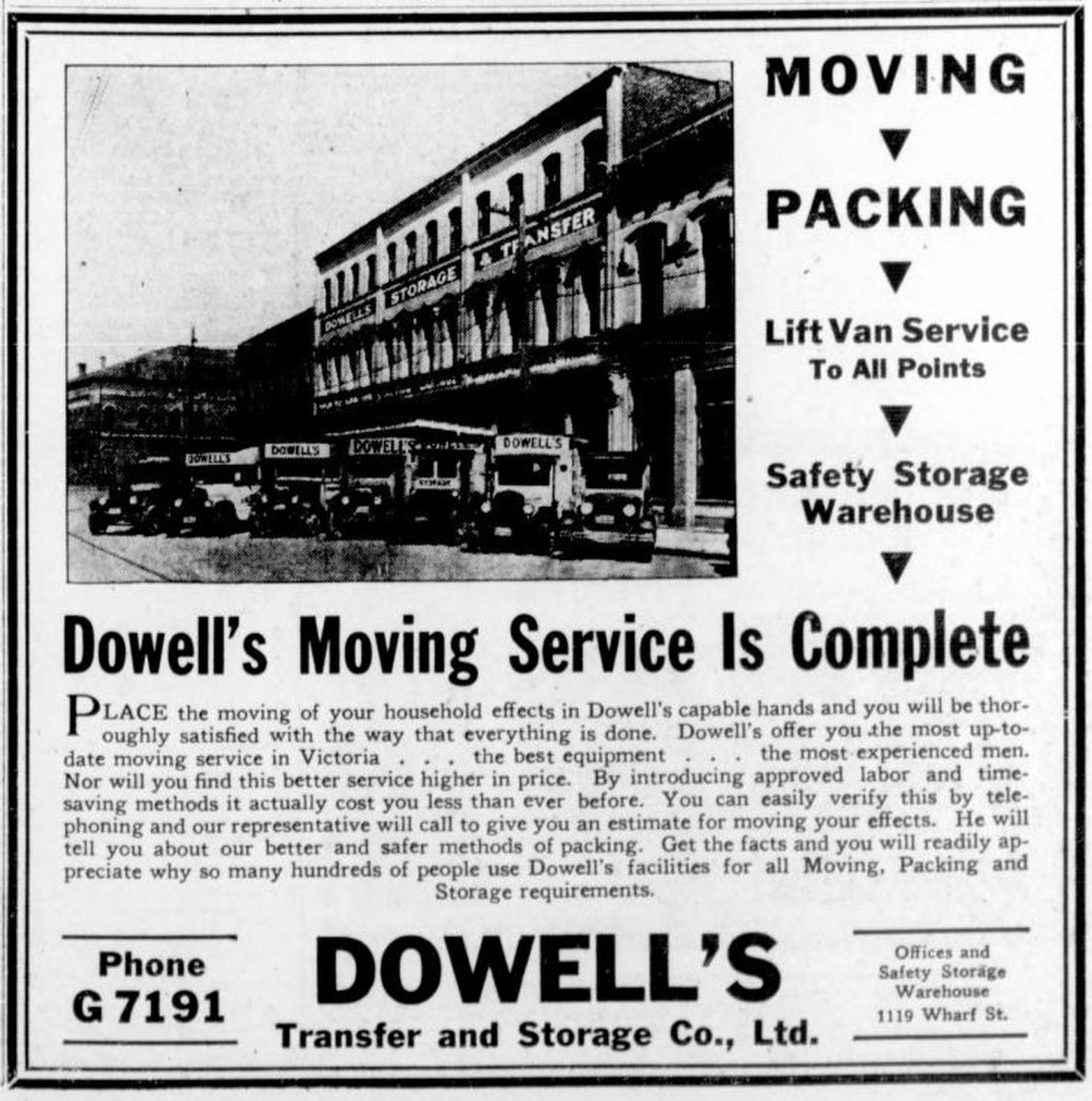 1933 advertisement for Dowell's Transfer & Storage Co., based in the Rithet Building, 1117-1125 Wharf Street (Victoria Online Sightseeing Tours collection)