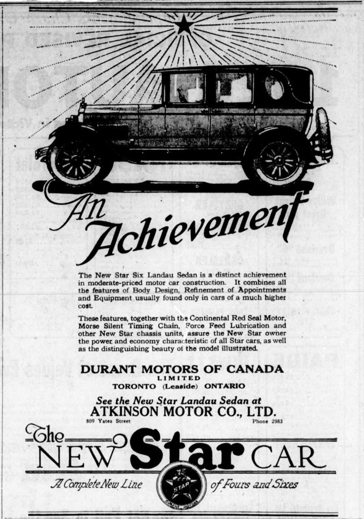 1926 advertisement for Durant Motors of Canada, sold by Atkinson Motor Company, 809 Yates Street in downtown Victoria. (Victoria Online Sightseeing Tours Inc. collection)