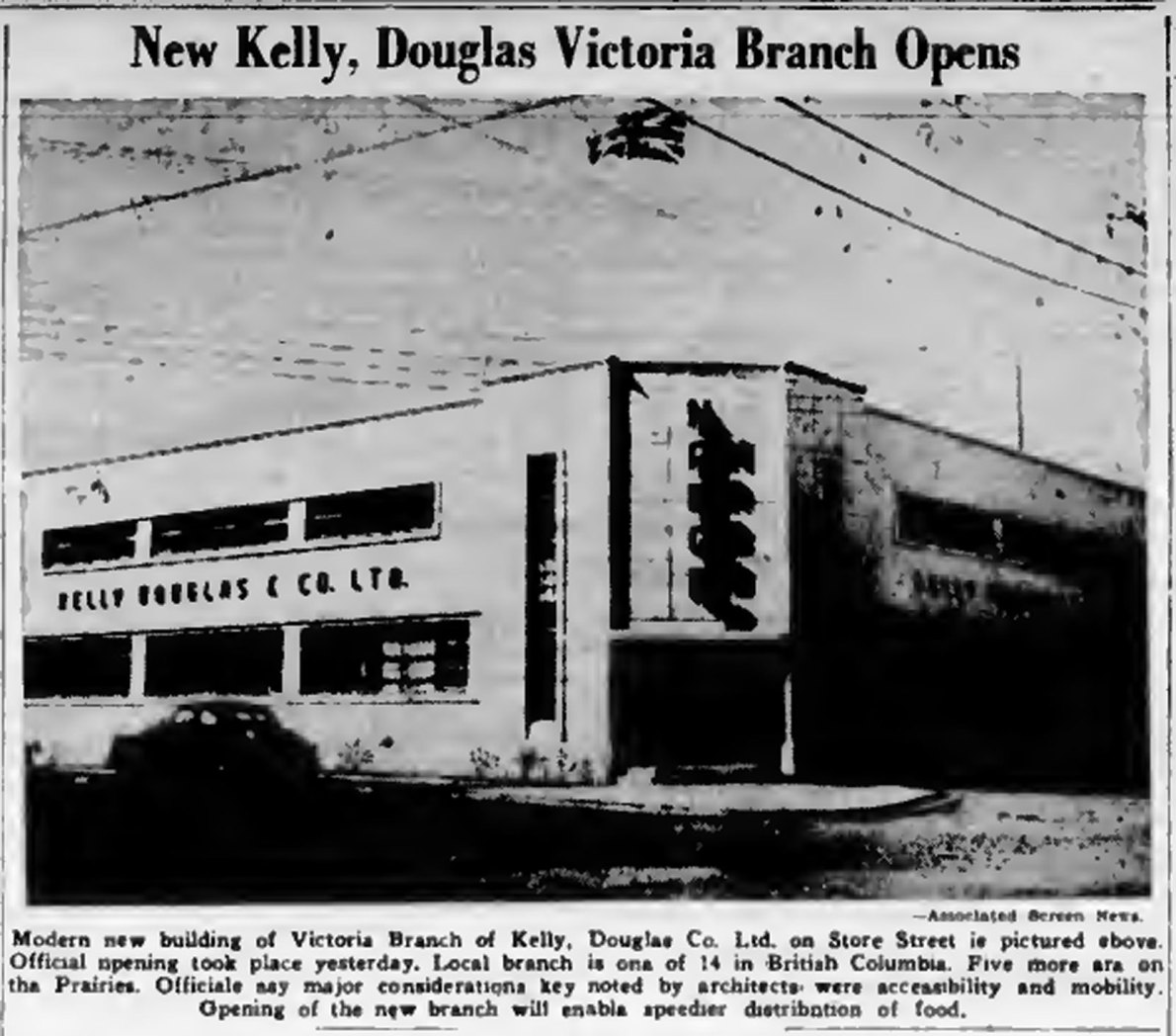1947 newspaper photo of the then newly opened Kelly Douglas & Co. Ltd. office and warehouse at 1810 Store Street.
