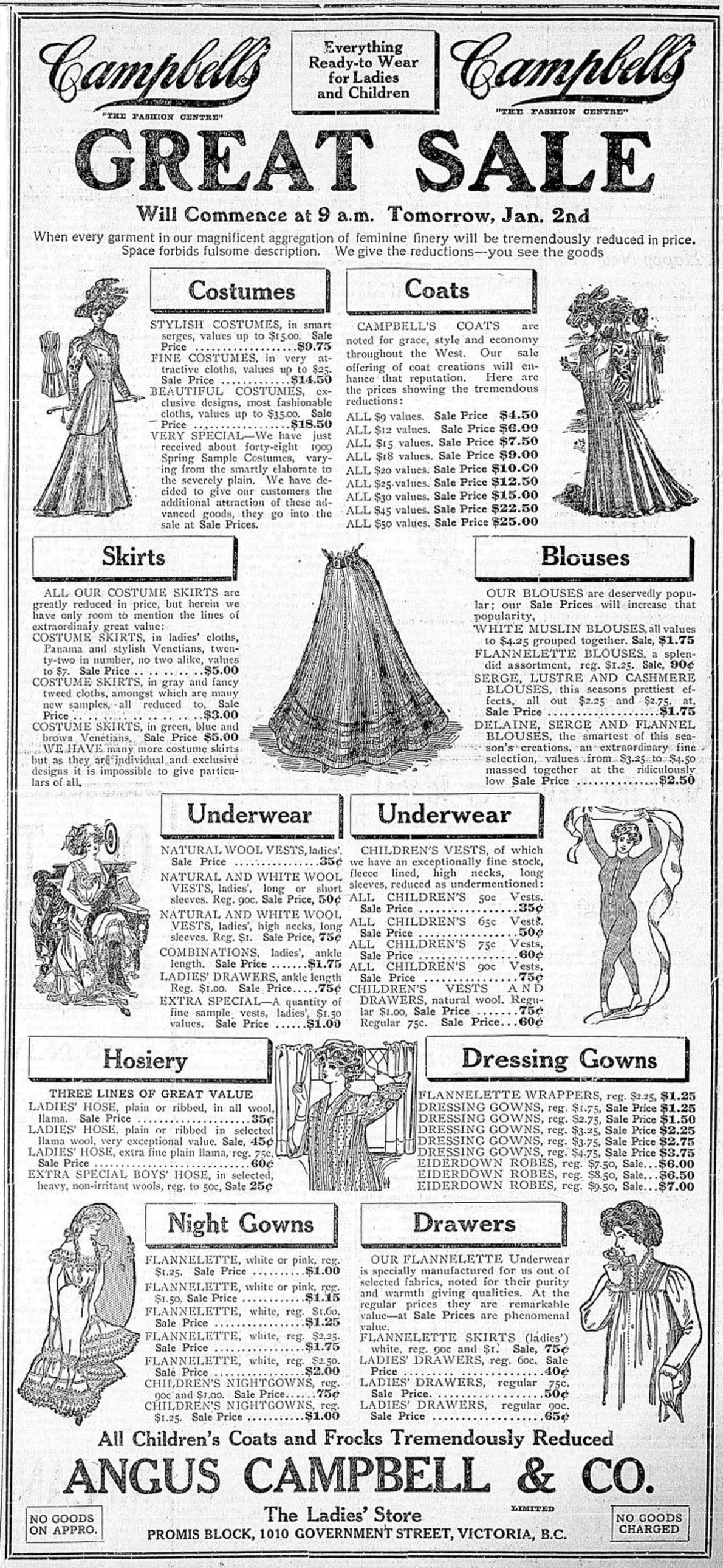 1909 advertisement for Angus Campbell & Co., a women's clothing store located at 1010 Government Street for several decades. (Victoria Online Sightseeing Tours collection)