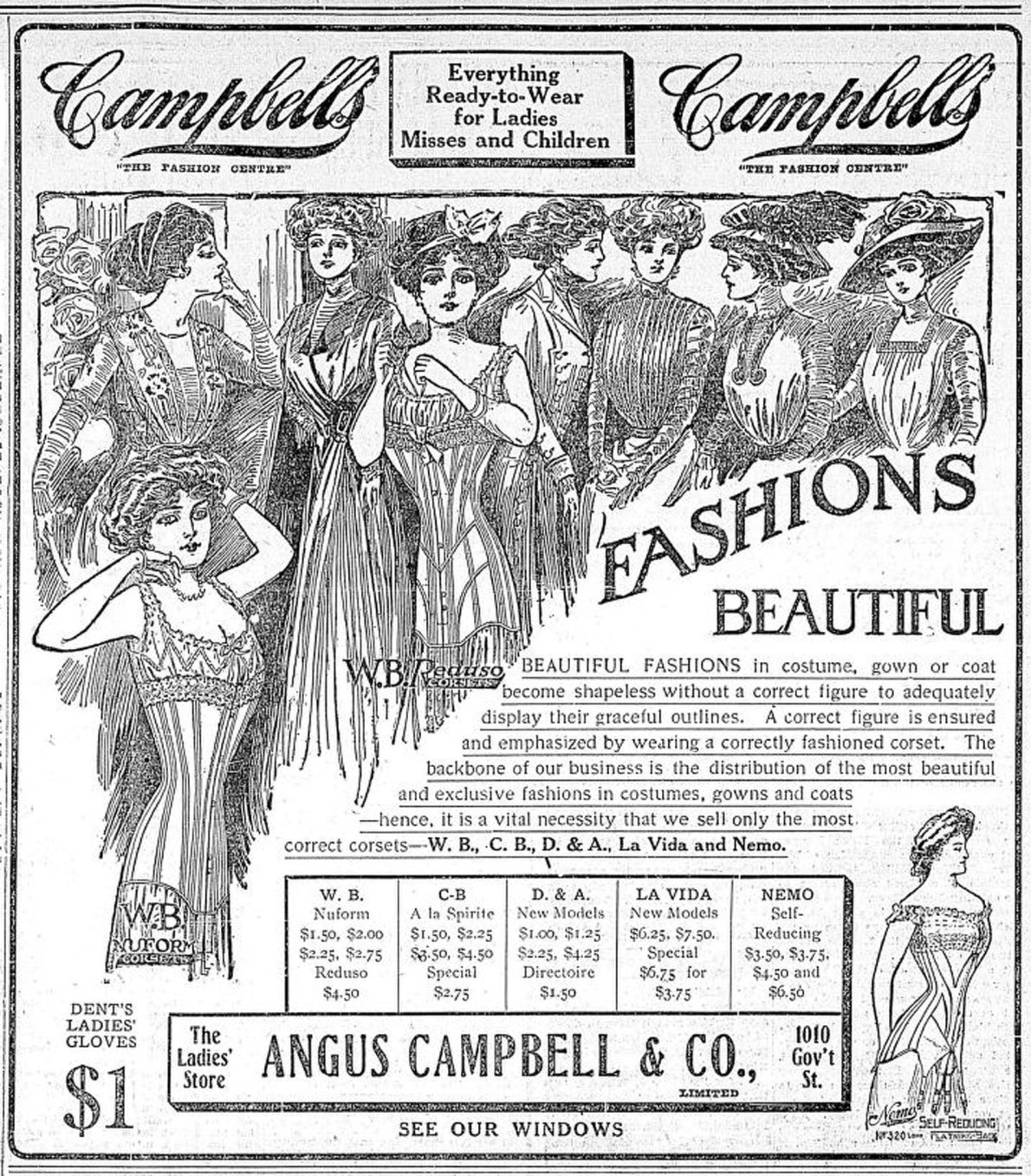 1909 advertisement for Angus Campbell & Co. Ltd., 1010 Government Street (Victoria Online Sightseeing collection)