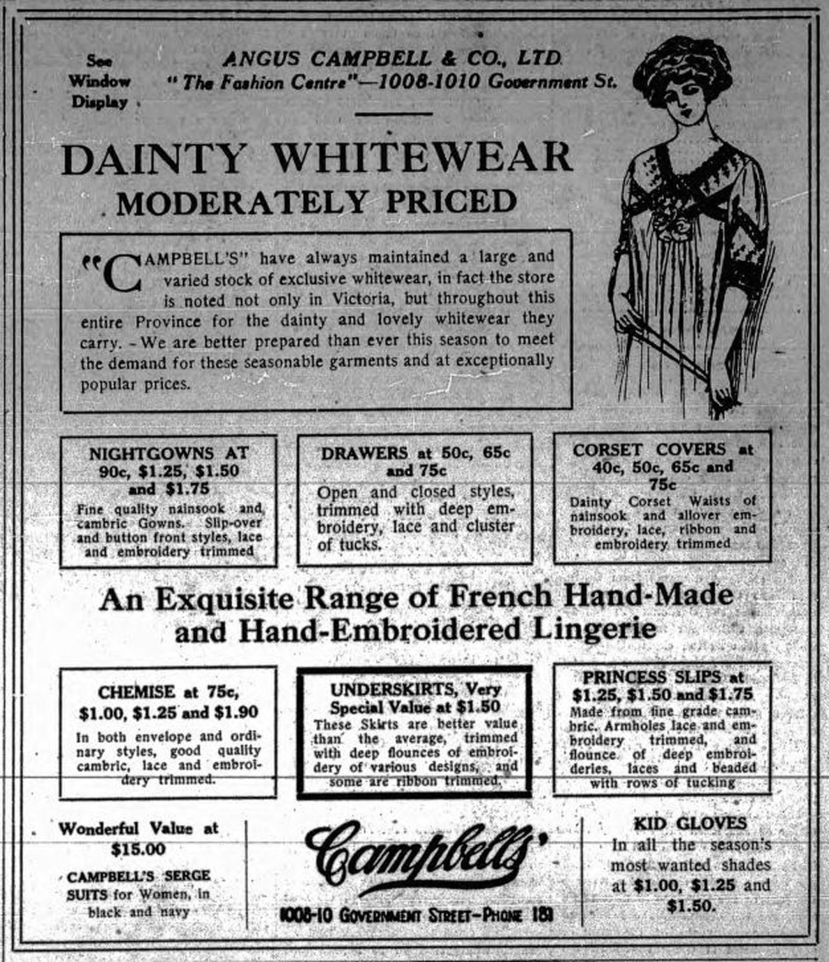 1915 advertisement for Angus Campbell & Co. Ltd., 1008-1010 Government Street (Victoria Online Sightseeing Tours collection)