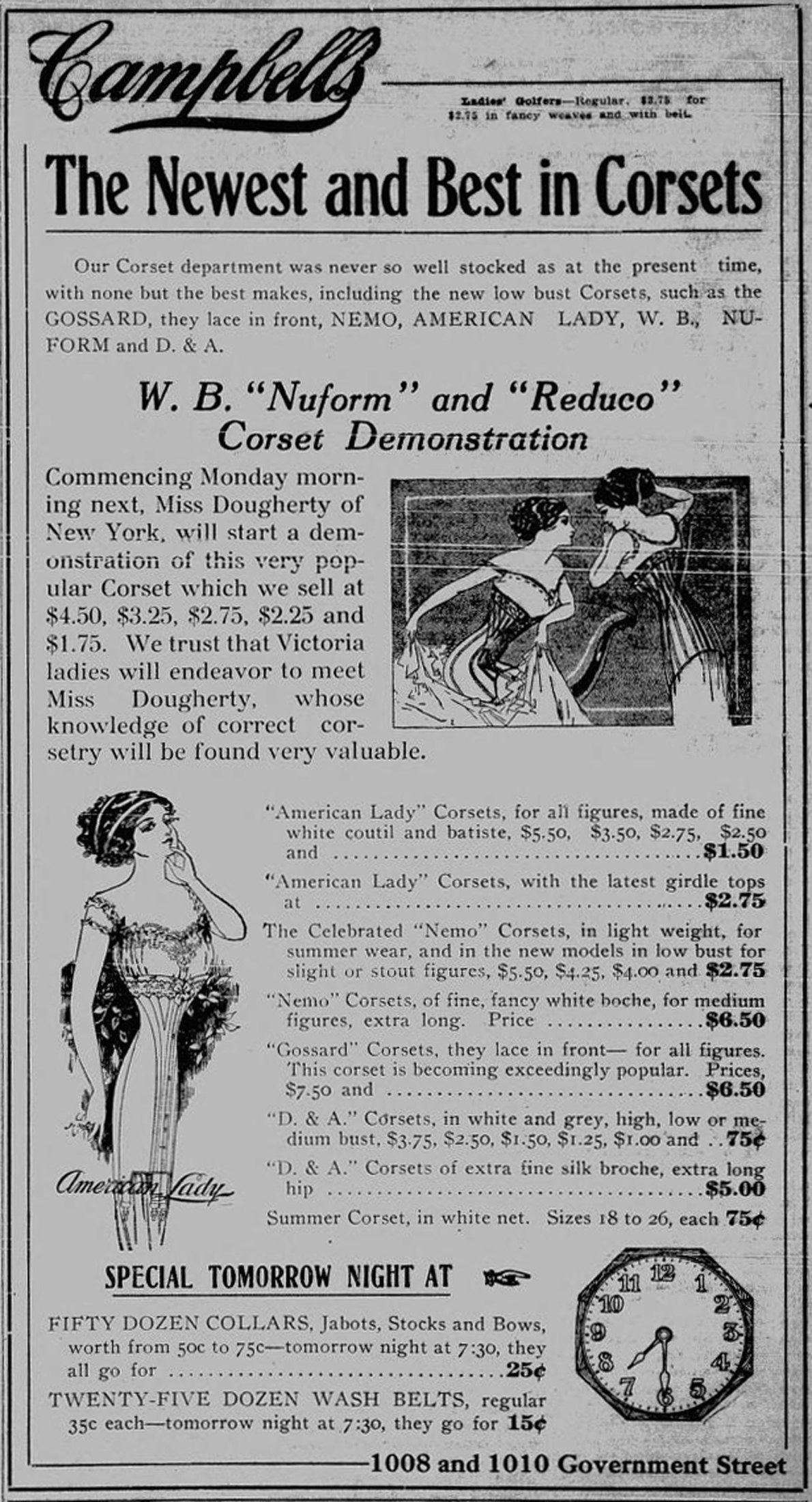 1911 advertisement for corsets by Angus Campbell, a women's clothing store located at 1010 Government Street for several decades. (Victoria Online Sightseeing Tours collection)