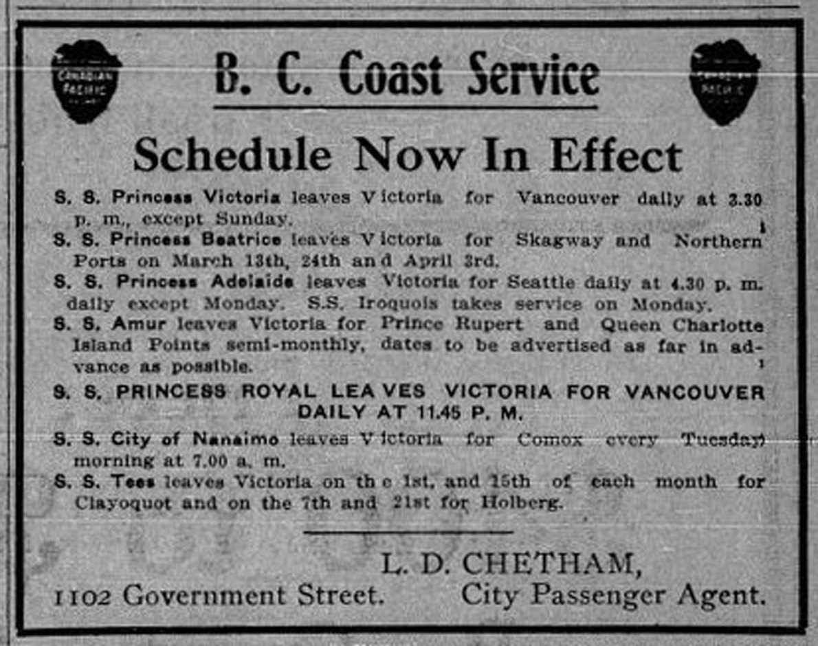 B.C. Coast Service schedule, 1911. Ticket office, 1102 Government Street. (Victoria Online Sightseeing Tours collection)