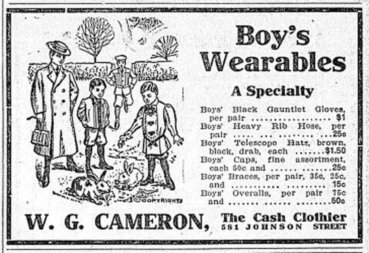 1910 advertisement for W.G. Cameron, 581 Johnson Street, (Victoria Online Sightseeing Tours collection)