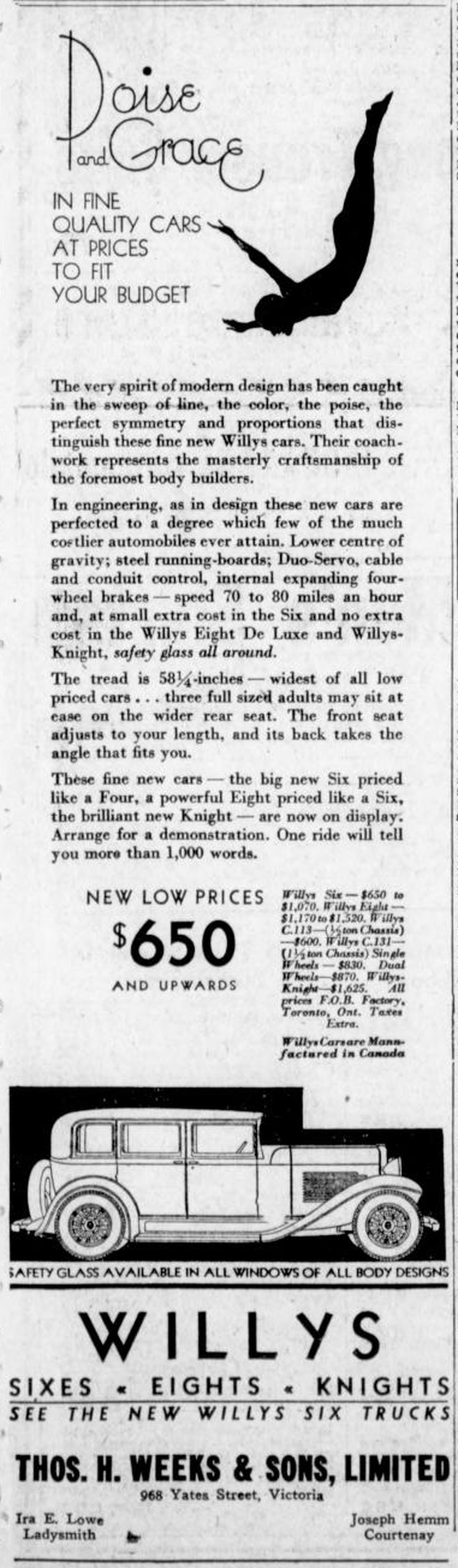 1931 advertisement for Willys cars and trucks, sold by Thomas H. Weeks & Sons Ltd,, 968 Yates Street (Victoria Online Sightseeing Tours collection)