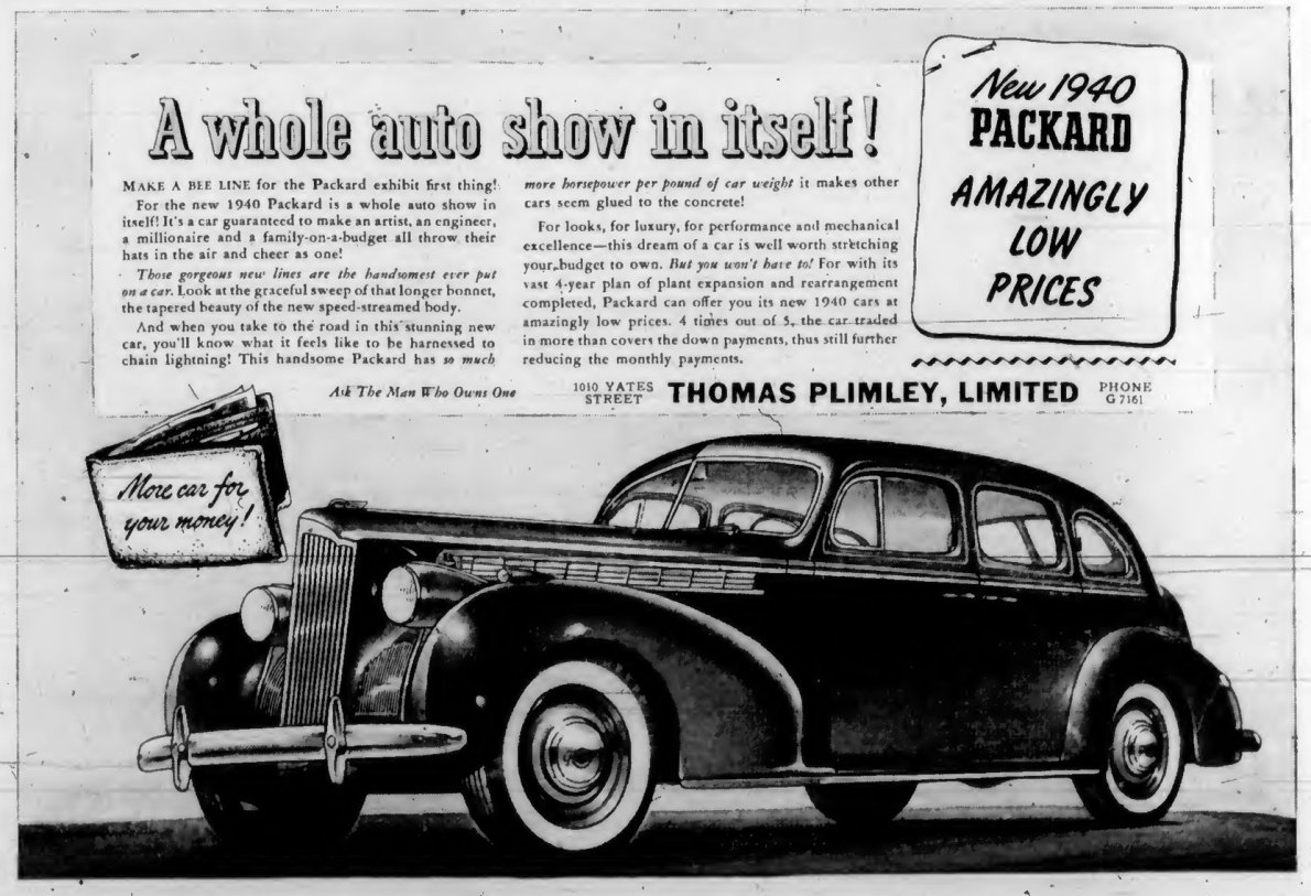 1940 advertisement for Packard, by Thomas Plimley Ltd., 1010 Yates Street (Victoria Online Sightseeing Tours collection)