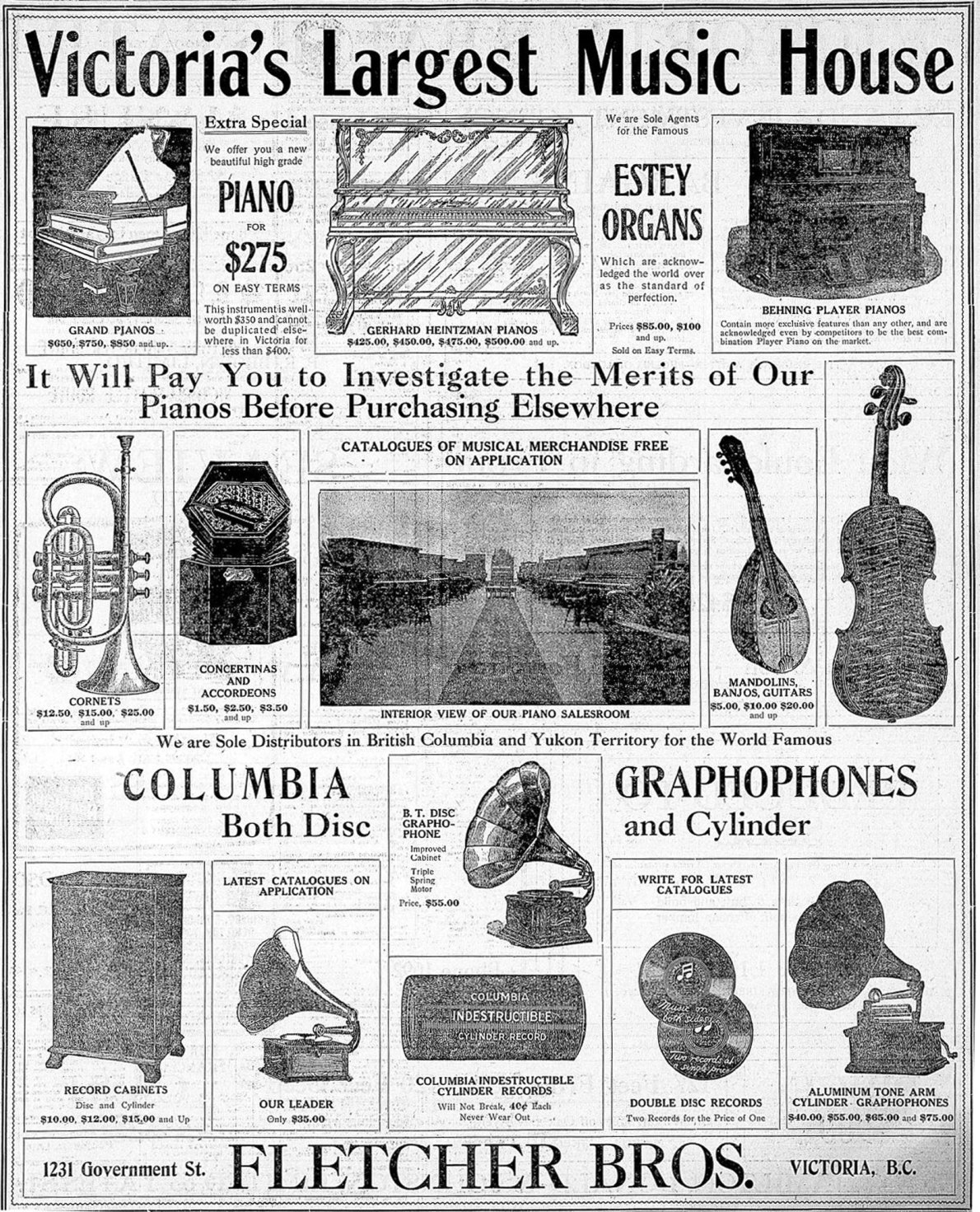1908 newspaper advertisement for Fletcher Brothers, 1231 Government Street, showing the interior of the store and illustrations of the record and phonograph technology of the period. (Victoria Online Sightseeing Tours collection)
