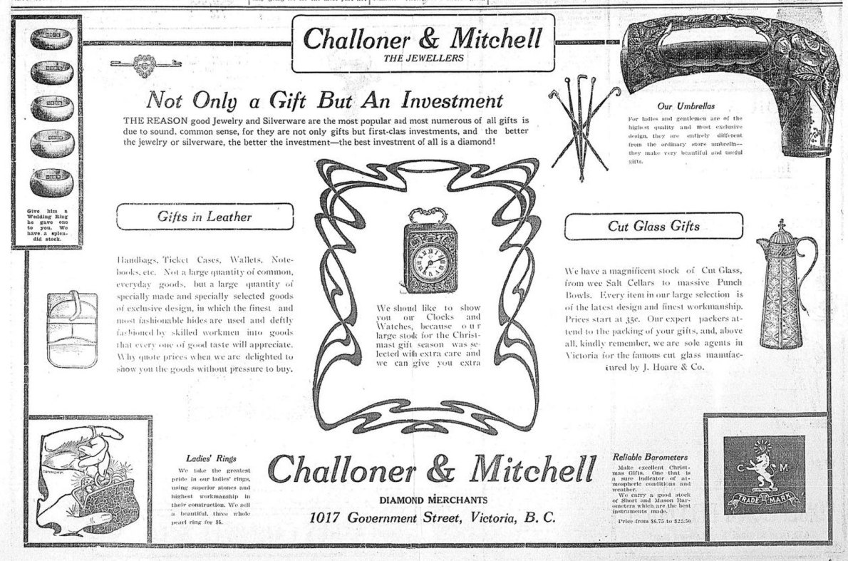 December 1909 advertisement from Challoner & Mitchell, 1017 Government Street.