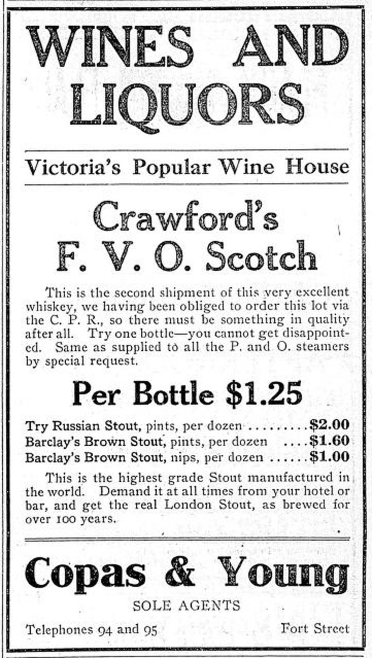 Copas & Young Anti-Combine Grocers, liquor advertisement with prices, 1910. Copas & Young was in the Fell Building at the intersection of Fort Street and Broad Street (Victoria Online Sightseeing collection)
