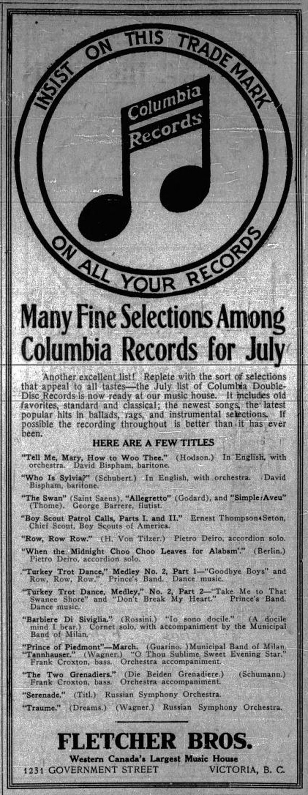 June 1913 advertisement for Columbia Records by Fletcher Brothers, 1231 Government Street.