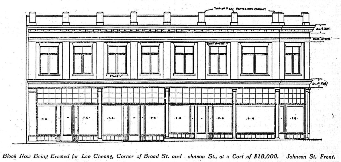 Architect's drawing (1909) of the Johnson Street elevation of the Lee Cheong Block, now 618-624 Johnson Street, at Broad Street. The architects were Thomas Hooper and C. Elwood Watkins.