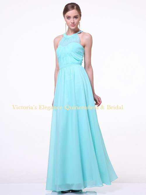 1469 Halter Bridesmaid Dress with Sheer Bodice – Mint, Front View