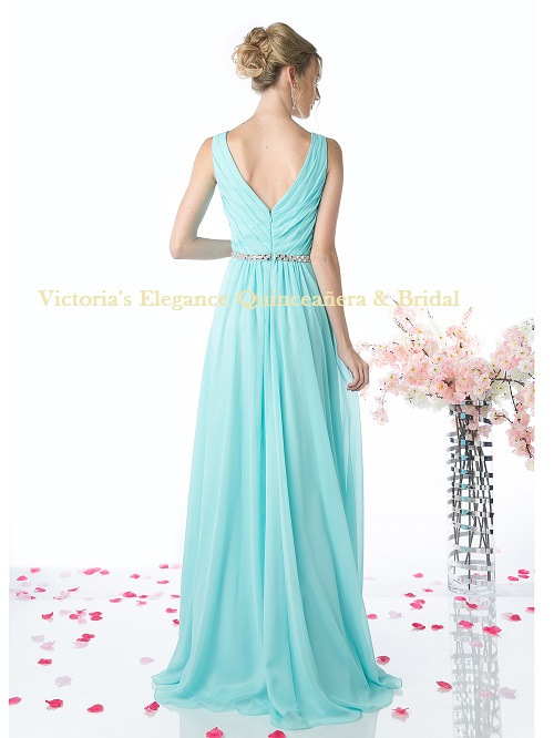 W0014 Sleeveless Pleated Evening Dress with Belt – Aqua, Back View
