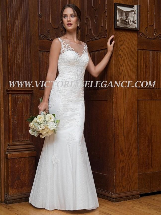 Illusion Bateau Neckline Wedding Dress available @ www.victoriaselegance.com