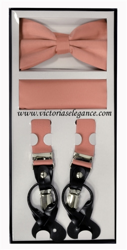 Suspender Combo Set (Bowtie & Hanky) Dusty Pink