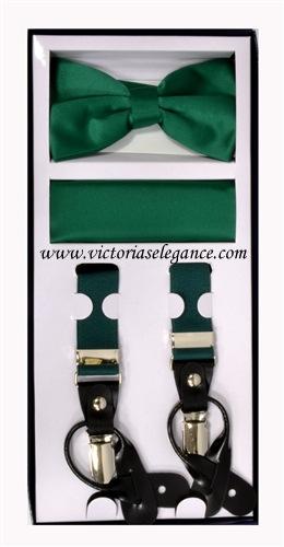 Suspender Combo Set (Bowtie & Hanky) Emerald
