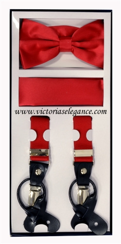 Suspender Combo Set (Bowtie & Hanky) Red