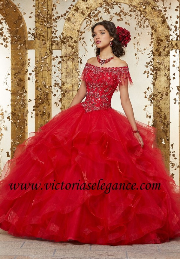 14059e66426 Rhinestone   Crystal Beaded Embroidery on Flounced Tulle Ball Gown Morilee  89237