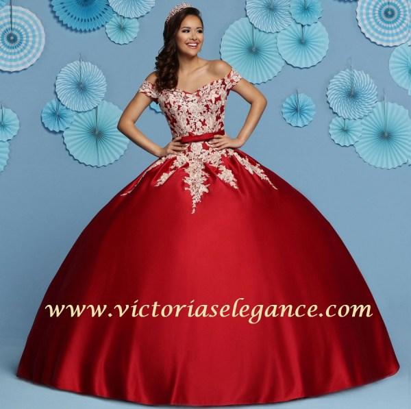 3b3e8736873 Lace   Satin Ball Gown Q by DaVinci 80439 – Victoria s Elegance ...