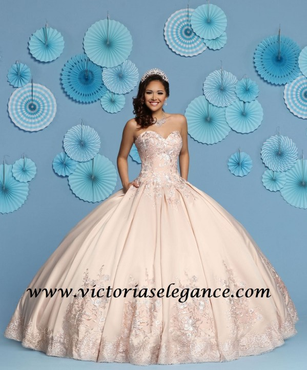 039057b3f8c Satin Ball Gown Q by DaVinci 80443 – Victoria s Elegance Quinceañera ...