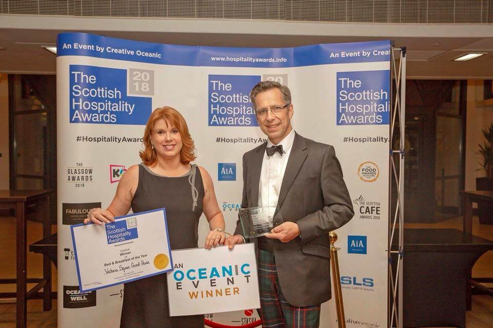 Victoria Square – Scottish Hospitality Awards B&B of the of the year 2018. Award Winners