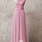 One Shoulder Pastel Pink Jersey Convertible Dress Vq