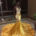 Gold Crystal Velvet Lace Applique Mermaid Prom Dress Vq