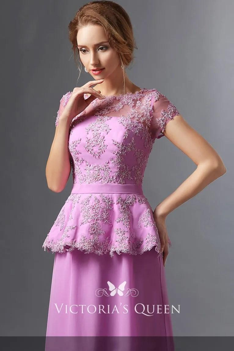 lace appliqued lilac satin