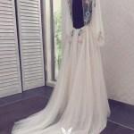 Sheer Tulle Fairy Floral Long Sleeve Wedding Dress Vq