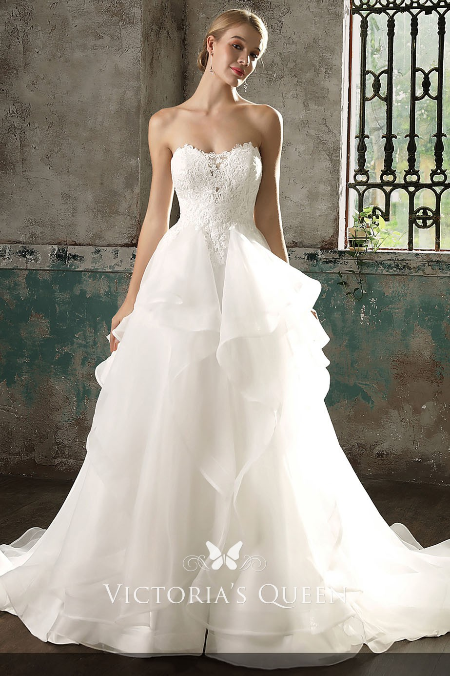 Princess Ivory Lace and Flounced Organza Strapless