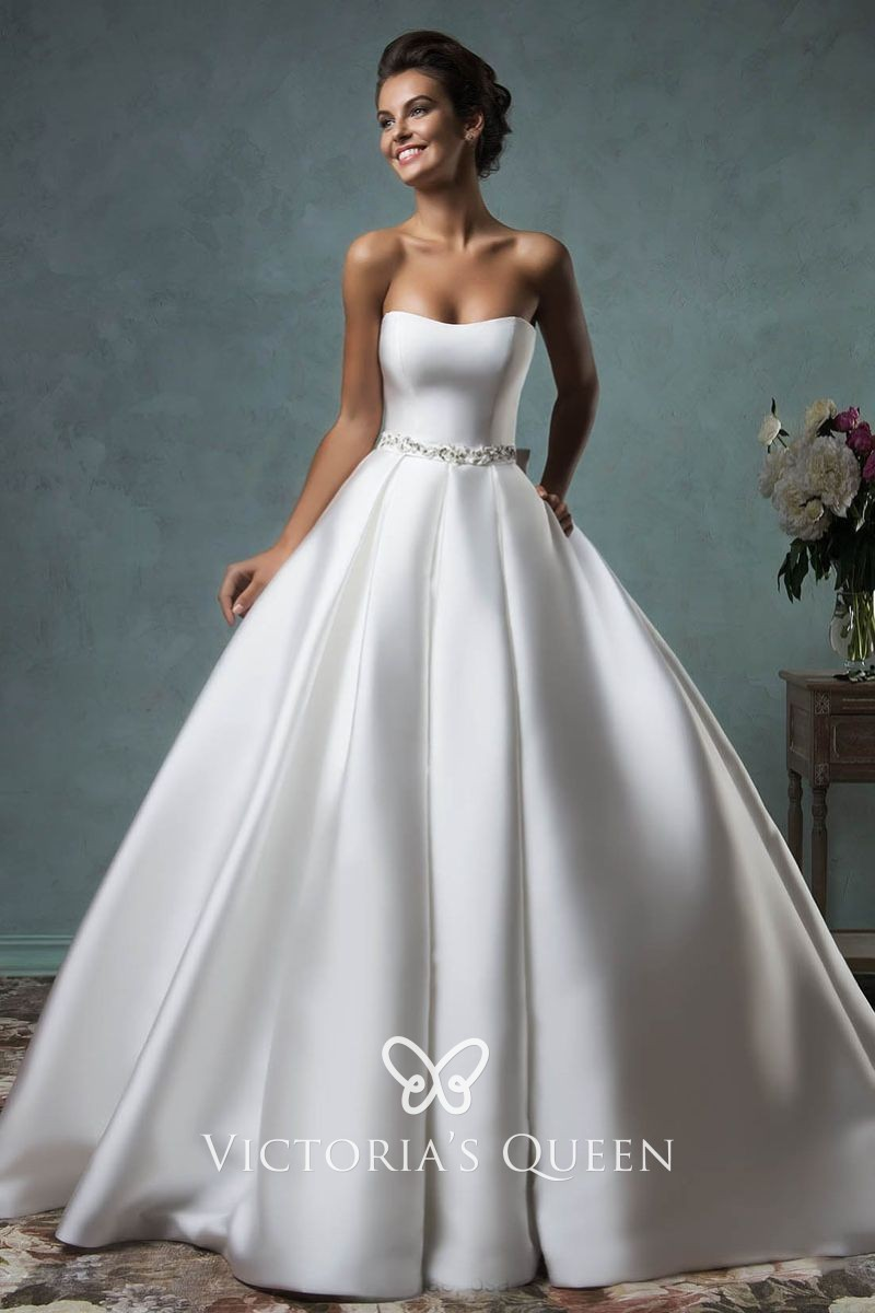 Simple Strapless Ivory Satin Beaded Ball Gown Wedding