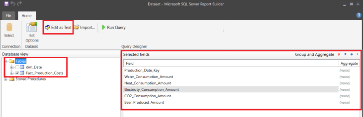 Report Builder - Create Dataset