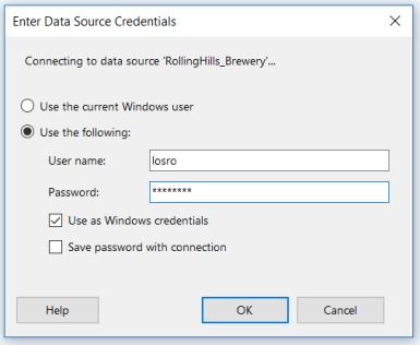Report Builder - Data Source Credentials