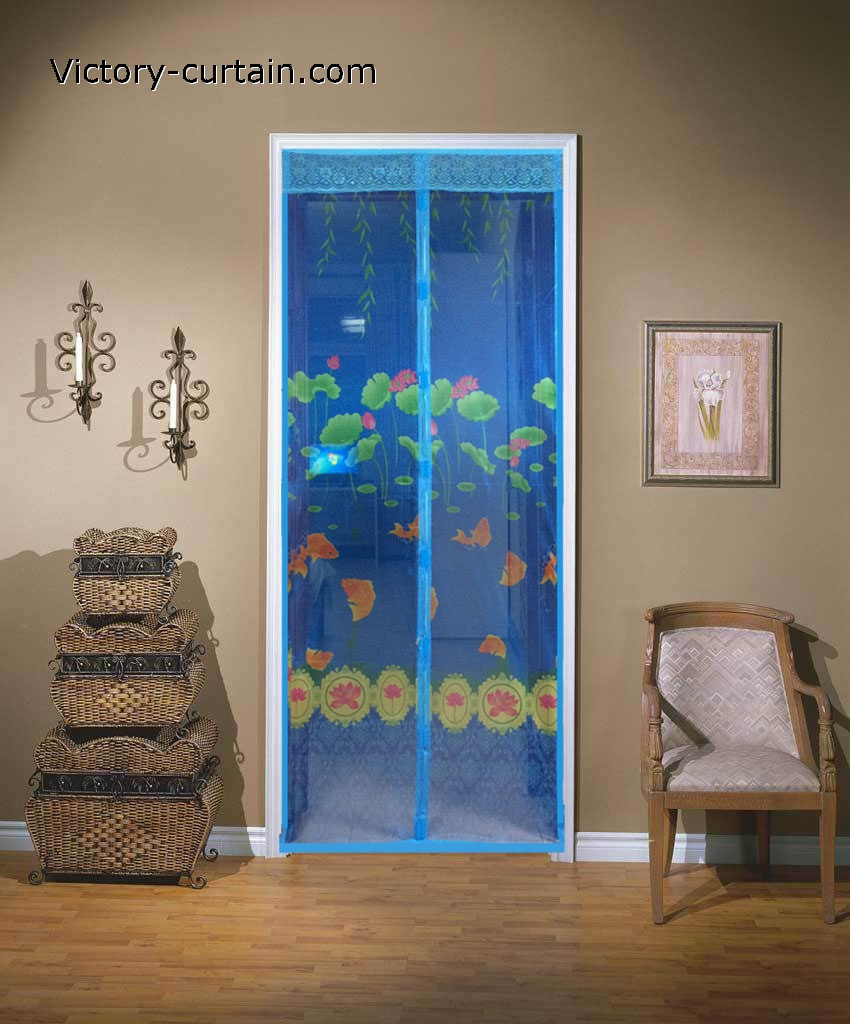 2015 new printed magnetic door screen fly screen curtains