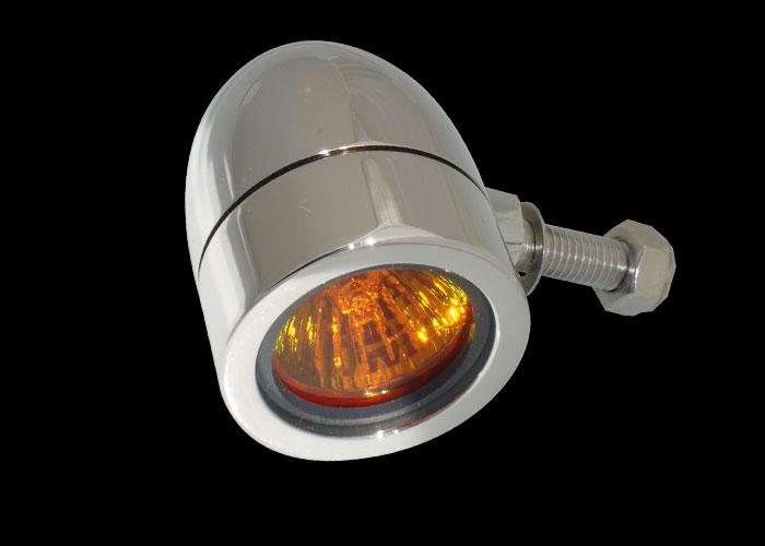 Bullet Lights Small Flat Bezel Chrome Body Amber Lens
