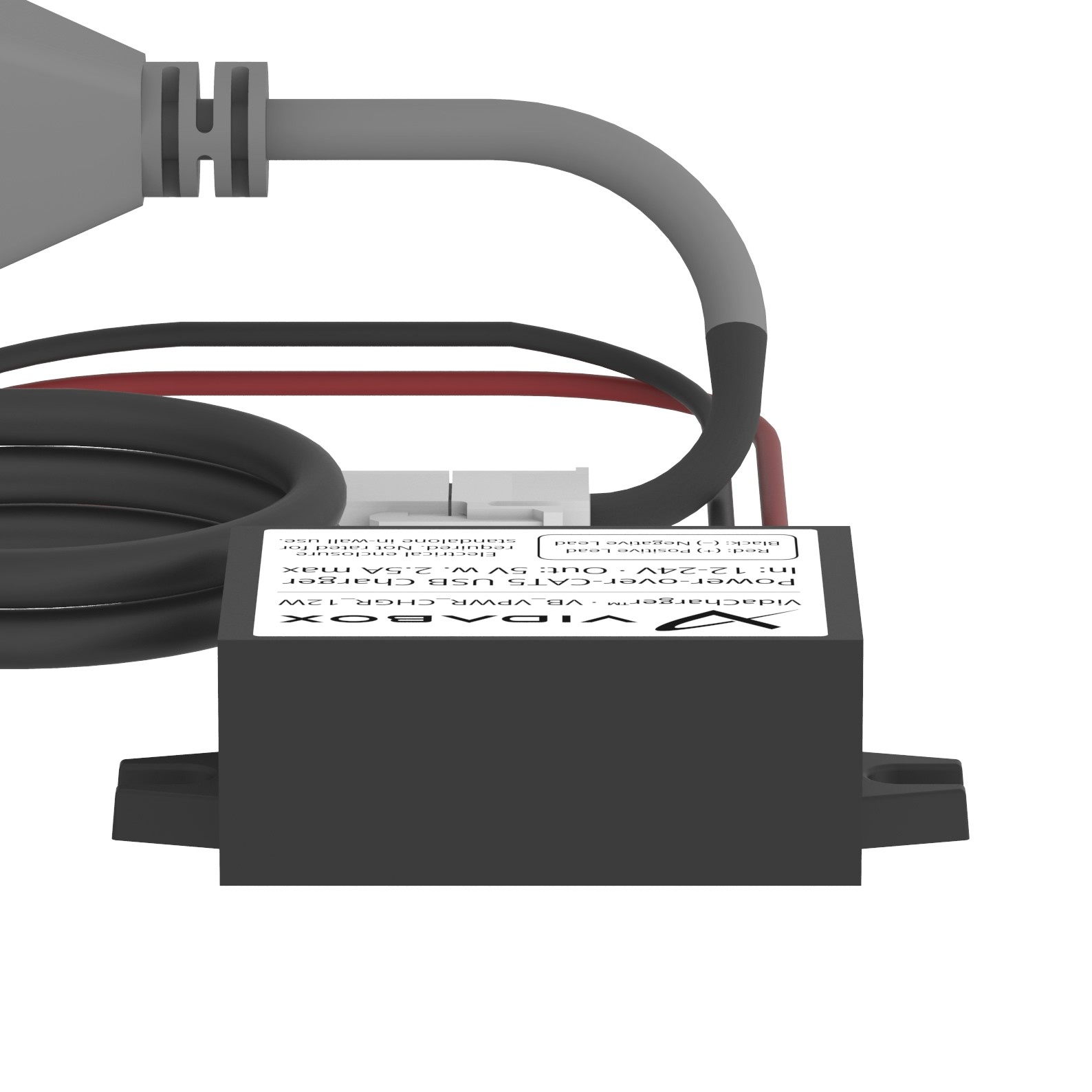 hight resolution of  24v vidacharger cat5 to usb 24v power over ethernet poe adapter back orthogonal view