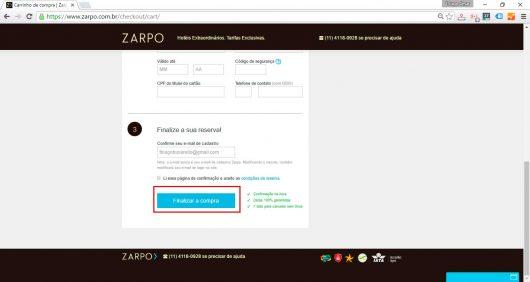 Finalizar reserva Zarpo
