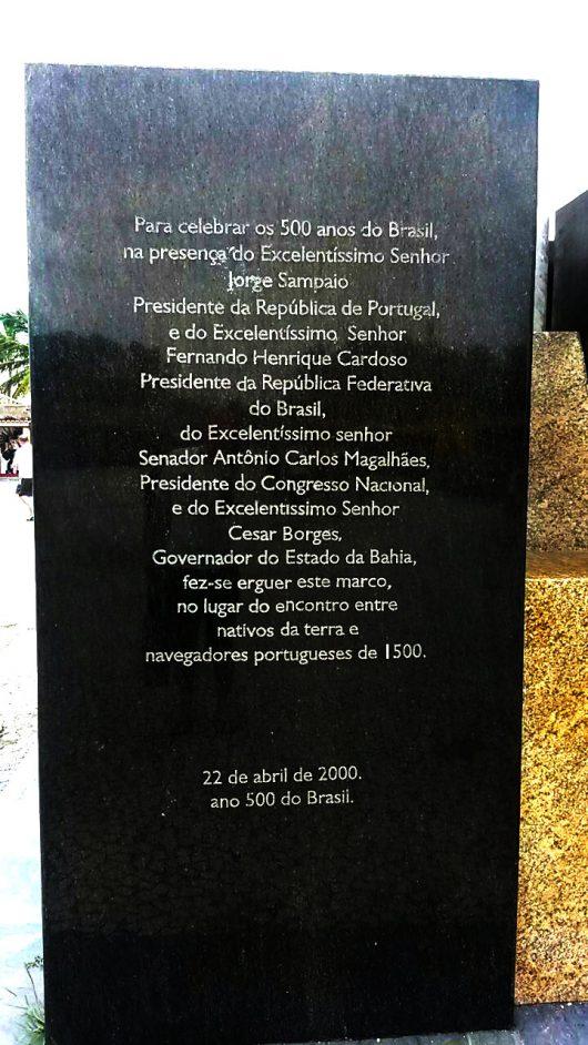Placa comemorativa 500 anos do Brasil