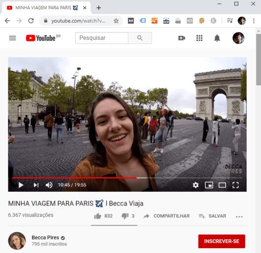 Dá para assistir vídeos no Youtube de viagem