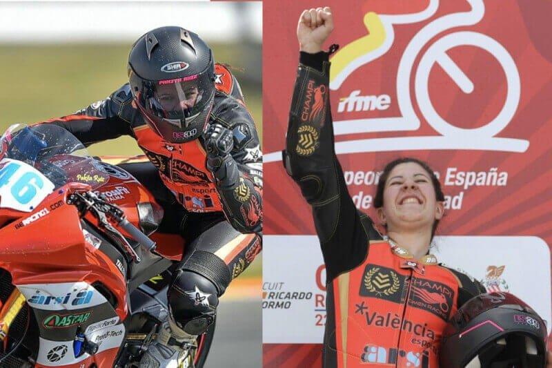 Pakita Ruiz campeona de España de Motociclismo ganando