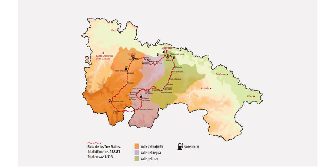 dibujo de la ruta de los tres valles sobre el mapa de la rioja