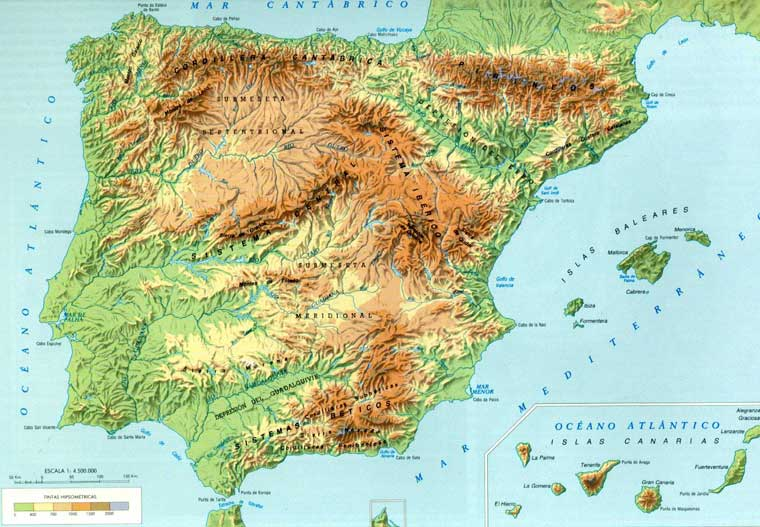 Рельеф Испании